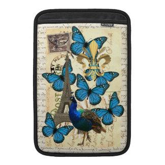 Paris, peacock and butterflies sleeve for MacBook air
