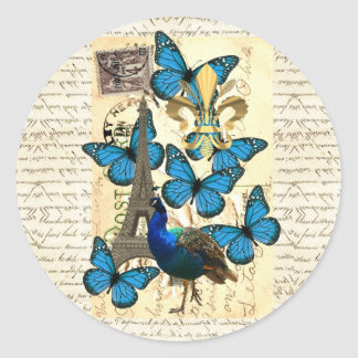 Paris peacock and butterflies stickers