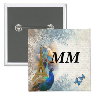 Paris peacock collage button