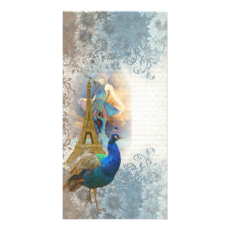 Paris peacock collage card