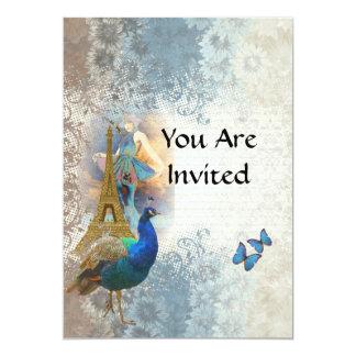 Paris peacock collage card