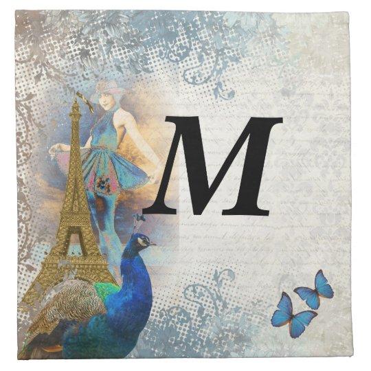 Paris peacock collage cloth napkin