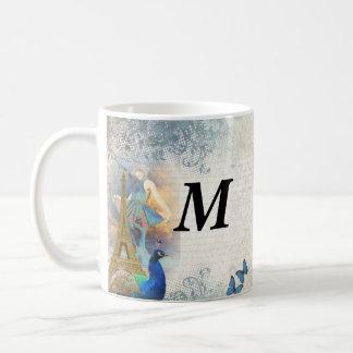 Paris peacock collage coffee mug