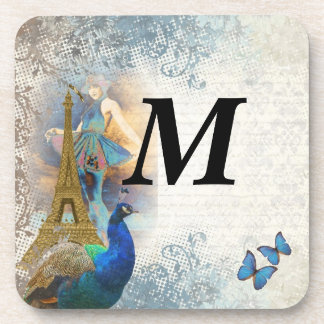 Paris peacock collage drink coaster