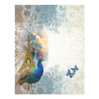Paris peacock collage flyer