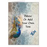 Paris peacock collage greeting card