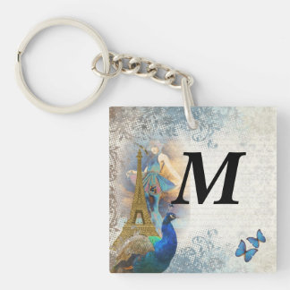 Paris peacock collage keychain