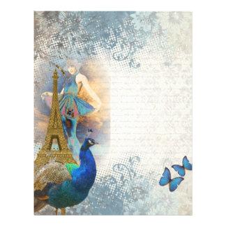 Paris peacock collage letterhead