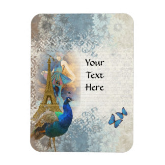 Paris peacock collage magnet