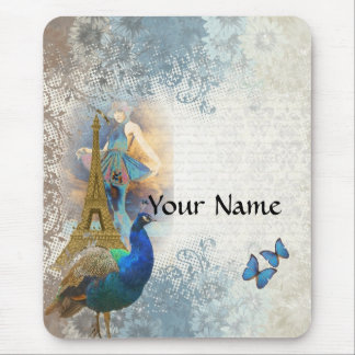 Paris peacock collage mouse pad
