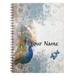 Paris peacock collage note books