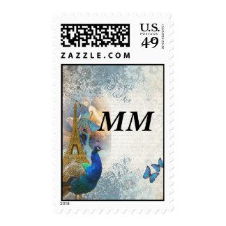Paris peacock collage stamps