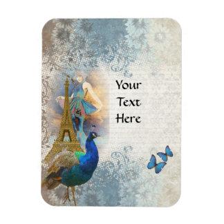 Paris peacock collage vinyl magnet