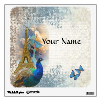 Paris peacock collage wall decal