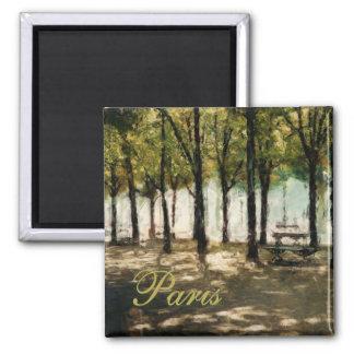 Paris Picnic Park Avenue des Champs-Elysees 2 Inch Square Magnet