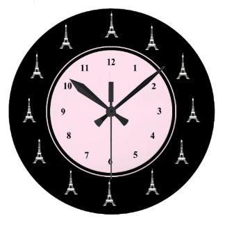 Paris Pink and Black Eiffel Tower Large Clock