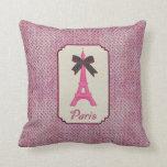 Paris Pink and Black Polka Dot Eiffel Tower & Bow Pillow
