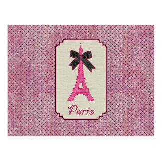 Paris Pink and Black Polka Dot Eiffel Tower & Bow Postcard