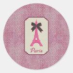 Paris Pink and Black Polka Dot Eiffel Tower & Bow Sticker