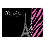 Paris; Pink & Black Zebra Print Stationery Note Card