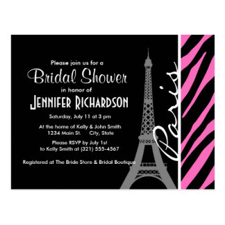 Paris; Pink & Black Zebra Print Postcard