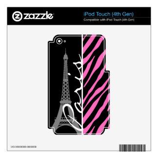Paris; Pink & Black Zebra Print iPod Touch 4G Skin