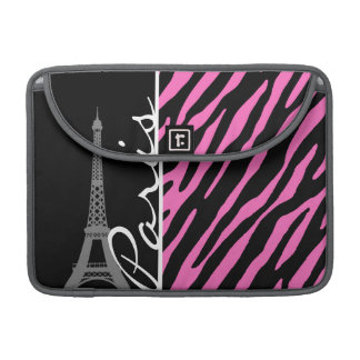 Paris; Pink & Black Zebra Print Sleeve For MacBooks