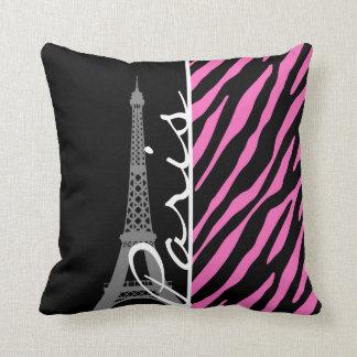 Paris; Pink & Black Zebra Print Throw Pillow