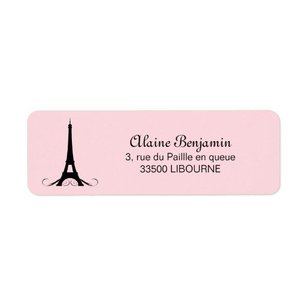 Paris Pink Eiffel Tower Label