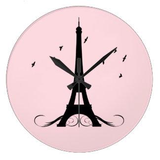 Paris Pink Eiffel Tower Large Clock