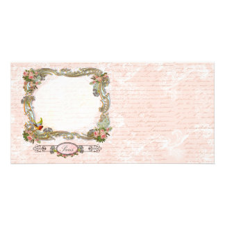 Paris Pink French Script Writing and Roses Card