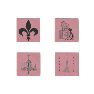 Paris Pink French Themed Magnets Set