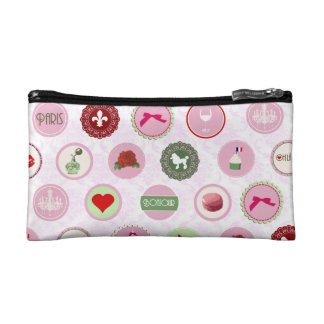 Paris Pink girly Shabby Chic pattern Cosmetic Bags