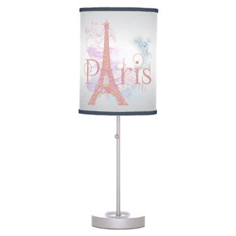 Paris Pink Glitter Eiffel Tower Table Lamp