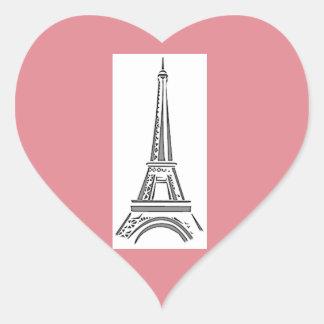Paris Pink Heart Eiffel Tower Sticker