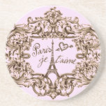 PARIS PINK JET'AIME BAROQUE EIFFEL AND HEART DRINK COASTER