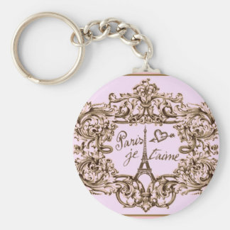 PARIS PINK JET'AIME BAROQUE EIFFEL AND HEART KEYCHAIN