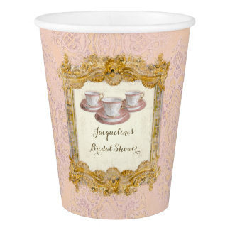 Paris Pink n Gold Palace Tea Party Bridal Shower Paper Cup