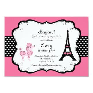 Paris Pink Poodle Eiffle Tower tea party bridal 5x7 Paper Invitation Card