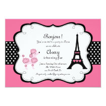 Paris Pink Poodle Eiffle Tower tea party bridal Card