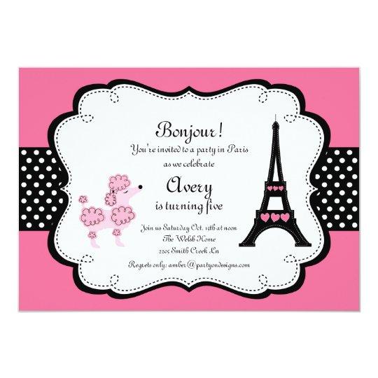 Paris Pink Poodle Eiffle Tower tea party bridal Card