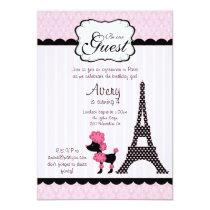 Paris Pink Poodle Eiffle Tower tea party bridal Invitation