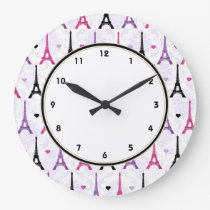 Paris Pink & Purple Eiffel Tower pattern Large Clock
