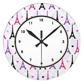 Paris Pink & Purple Eiffel Tower pattern Large Clock