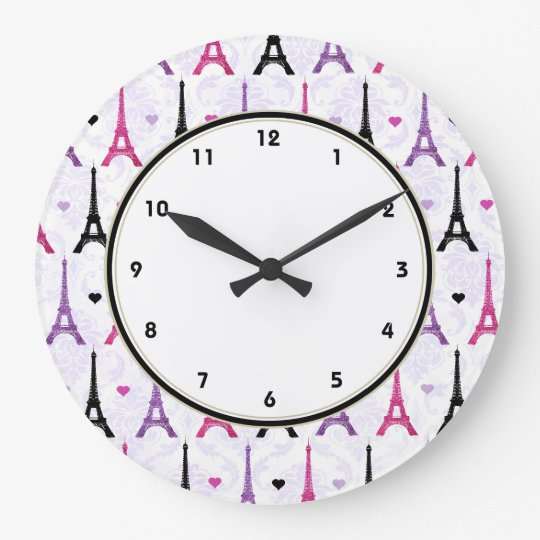 As Creation Pink Paris Pattern Eiffel Tower Childrens: Paris Pink & Purple Eiffel Tower Pattern Large Clock
