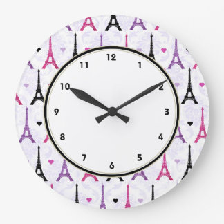 Paris Pink & Purple Eiffel Tower pattern Wallclock
