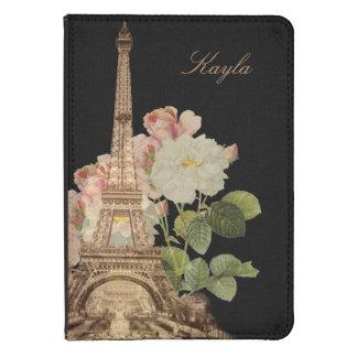 Paris Pink Rose Black Vintage Personlized Kindle Kindle Touch Case