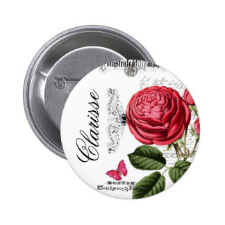 Paris Pink Rose Personalized 2 Inch Round Button
