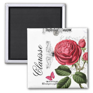 Paris Pink Rose Personalized 2 Inch Square Magnet