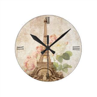 Paris Pink Rose Vintage Romantic Clock